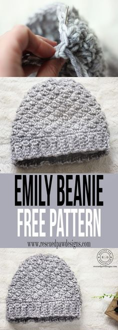 Emily Diagonal Beanie Crochet Pattern by Rescued Paw Designs