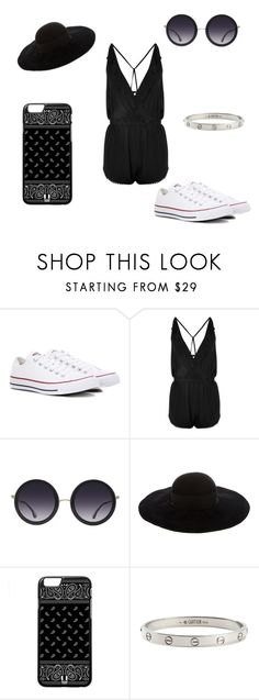 """""""Date Night #NEWLINE"""" by miss-mississippi2017 ❤ liked on Polyvore featuring Converse, Topshop, Alice + Olivia, Eugenia Kim and Cartier"""