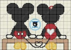 Mickey & Minnie in love cross stitch point du croix punto de cruz Cross Stitch Baby, Cross Stitch Animals, Cross Stitch Charts, Disney Stitch, Disney Cross Stitch Patterns, Cross Stitch Designs, Cross Stitching, Cross Stitch Embroidery, Modele Pixel Art