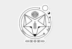 smiling geometric fox native spirit art universe Sticker - Design By Humans Zorro Tattoo, Spirit Art, Geometric Fox, Geometric Tattoo Fox, Fuchs Tattoo, Fox Drawing, Wood Badge, Fox Art, Fox Design