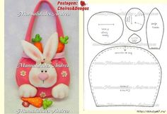 Easter Bunny Purse - just this pattern, no instructions Rabbit Crafts, Bunny Crafts, Easter Crafts, Felt Crafts, Crafts For Kids, Spring Crafts, Holiday Crafts, Easter Projects, Felt Baby
