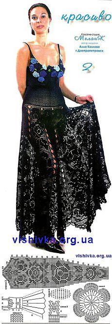 Платье с филейной юбкой крючком