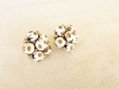 Vintage Cathe' Clip Earrings White Brown Dot by DixieVintageShoppe