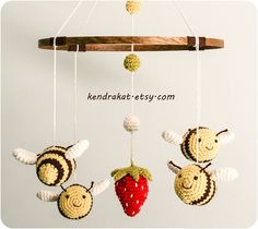Ravelry: The Bee's Mobile, crochet pattern by Kendra Kat. Crochet Baby Mobiles, Crochet Mobile, Single Crochet Decrease, Half Double Crochet, Crochet Yarn, Crochet Toys, Crochet Bunting, Basic Crochet Stitches, Crochet Patterns