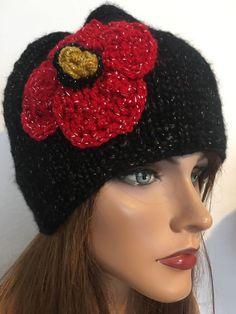 Hand Knits 2 Love Beanie Hat Isaac Mizrahi Yarn Flower Gold Designer Fashion #HandKnits2Love #BeanieHotCapHat