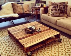 a reclaimed solid wood mobile pallet coffee table for living room ... - Mobili Pallet Interior Design