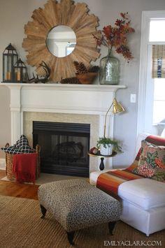 Fall mantel decorating, living room