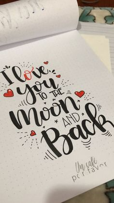 To the moon and back 2 Calligraphy Quotes Doodles, Brush Lettering Quotes, Doodle Quotes, Doodle Lettering, Hand Lettering Quotes, Schrift Design, Drawing Quotes, Journal Quotes, Lettering Tutorial