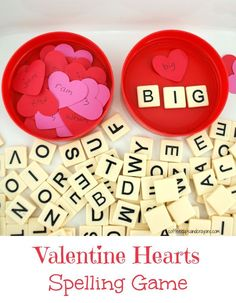 Valentine's Day Spelling Activity: Practice spelling words with a Valentine's Day twist! Kids will just love this valentine hearts spelling game. Valentines Games, Valentine Theme, Valentines Day Activities, Valentines Day Party, Holiday Activities, Valentine Day Crafts, Valentine Heart, Valentine Ideas, Valentines Day Words