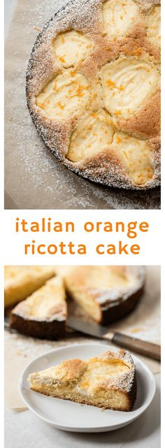 A simple Italian-inspired almond cake batter baked with fresh orange-infused ricotta. Ricotta Torte, Ricotta Dessert, Ricotta Cheesecake, Holiday Desserts, Just Desserts, Delicious Desserts, Yummy Food, Baking Recipes, Cake Recipes