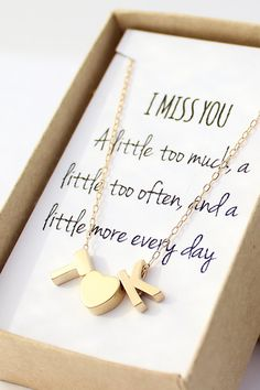 "Initial Heart Necklace. ""I Miss You. A little too much, a little too often, and a little more every day"" Perfect for those who won't be home for Christmas."