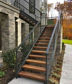 Modern Staircase Design Ideas - Modern stairs come in several styles and designs that can be genuine eye-catcher in the various area. We've compiled best 10 modern models of stairs that can give. Exterior Stair Railing, Staircase Outdoor, Outdoor Stair Railing, Stair Handrail, Handrail Ideas, Handrails Outdoor, Patio Stairs, Banisters, Railings
