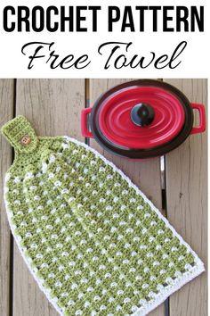 Block Stitch Kitchen or Tea Towel, Free Crochet Pattern - PintoPin Crochet Dish Towels, Crochet Towel Topper, Crochet Kitchen Towels, Crochet Potholders, Knitted Dishcloths, Crochet Gifts, Easy Crochet, Free Crochet, Hanging Towels