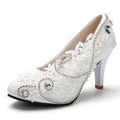 Sommer Mode Weißes Licht Elfenbein Spitze Kristall Hochzeit Schuhe Für Frau Hohen Dünnen Fersen Bequem Pumpen Plus Größe 5-11(China (Mainland))