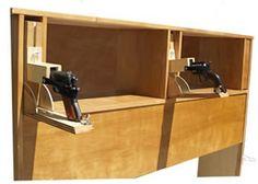Headboard with Easy Access Drop-down Handgun Compartments