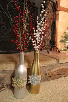 Christmas Decor, recycled wine bottles.