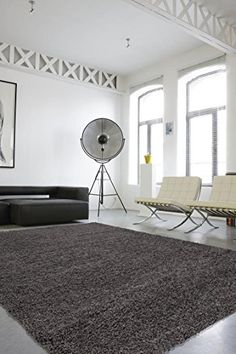 """Cozy Shag Collection Charcoal Grey Solid Shag Rug (5'0"""" X 7'0"""") Contemporary Living and Bedroom Soft Shaggy Area Rug Sweet Home Stores http://smile.amazon.com/dp/B00W681GJ8/ref=cm_sw_r_pi_dp_rNtvwb0HMS188"""