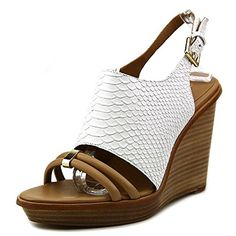 Calvin Klein Womens Prina Wedge Sandal S GoldPlatinum White 85 M US ** Details can be found by clicking on the image.
