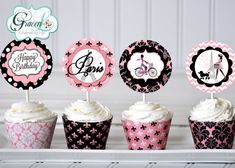 Paris Cupcake Toppers Paris Birthday Decorations by GracenLDesigns
