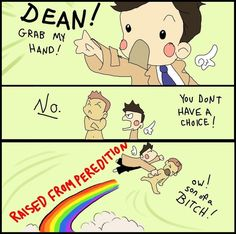Castiel Gripped Dean Tight and Raised Him From Perdition ||| Supernatural Fan Art