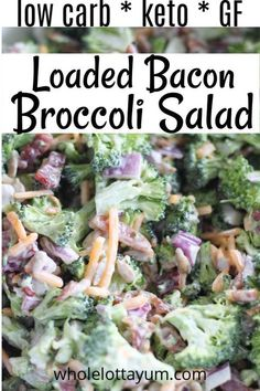 An easy Low Carb Keto Broccoli Salad loaded with Bacon, cheese and other goodness. This is a broccoli salad without sugar that's a healthy take on the classic broccoli salad recipe. #keto #ketorecipes #lowcarb #glutenfree #sugarfree #salads #sidedishes
