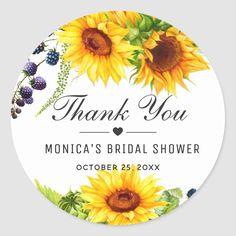 Bright Sunflowers Rustic Thank You Bridal Shower Classic Round Sticker | Zazzle.com