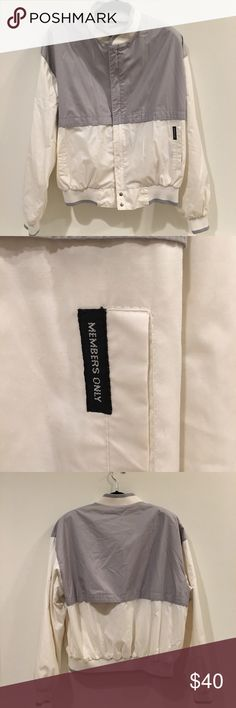 """VTG White & Gray Member's Only Jacket (Men's M/L) This was a cool vintage find. Great condition except for a part in the back that could use a few stitches but isn't noticeable if you don't (refer to pictures). Too big for me otherwise I'd keep it. """"What're you, the last member?"""" member's Only Jackets & Coats"""