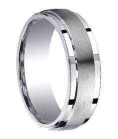 Mens Silver Wedding Ring with Satin Center and Polished Step-Down Edges