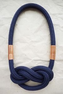 FOVE — FEO *double braided polyester rop - steel blue *big infinity knot *copper tube connection Very high standard - handmade Rope Jewelry, Jewelry Crafts, Jewelery, Handmade Jewelry, Jewelry Necklaces, Wire Earrings, Textile Jewelry, Fabric Jewelry, Jewelry Accessories