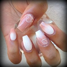 nude and white ombre coffin nails