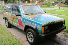 jeep cherokee elmer art car photo