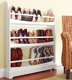 Simplest Shoe Organizing Tricks Outfit a Plate Rack The slim design of a dining room plate rack proves a convenient and compact way to stash your favorite pairs. Easily store flats, sneakers, and pumps with heels pointed out.Outfit a Plate Rack The slim Closet Shoe Storage, Diy Shoe Rack, Shoe Racks, Shoe Organizer Closet, Wall Mounted Shoe Storage, Wall Shoe Rack, Slide Out Shelves, Sliding Shelves, Organisation Hacks
