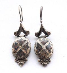 Victorian Scottish Silver Drop Earrings Sterling Granite Pierced Hook  #DropDangle