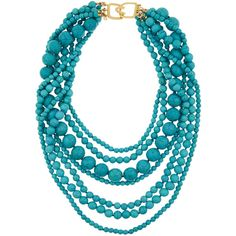 Kenneth Jay Lane Gold-plated beaded turquoise necklace ($315) ❤ liked on Polyvore featuring jewelry, necklaces, turquoise, turquoise jewelry, turquoise bead necklace, multi strand beaded necklace, blue multi strand necklace and gold plated necklace