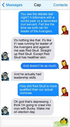 Pictures of text conversations between super heroes Funny Marvel Memes, Dc Memes, Marvel Jokes, Marvel Dc Comics, Funny Comics, Marvel Films, Avengers Texts, Superhero Texts, Marvel Avengers