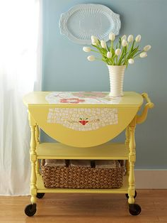 Furniture Makeovers It's my tea cart featured in Better Homes & Gardens! I have this same one, painted light green, in my kitchen!It's my tea cart featured in Better Homes & Gardens! I have this same one, painted light green, in my kitchen! Old Furniture, Repurposed Furniture, Furniture Projects, Furniture Making, Furniture Makeover, Home Projects, Painted Furniture, Furniture Stores, Vintage Furniture