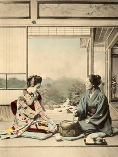 """A Fair Visitor"", from Photographs of Japanese Customs and Manners: 50 Hand Tinted Collotype Plates, K. Old Photos, Vintage Photos, Ancient Japanese Art, Japan Landscape, Japan Shop, Japanese Photography, Japanese Outfits, Japanese Clothing, Kabuki Costume"