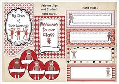 Sock Monkeys are everywhere! These adorable critters will bring warmth, fun and organisation to your classroom. The gorgeous red, black, tan, grey and white colour scheme makes all the elements of the pack coordinate.