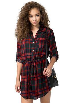 Red Green Long Sleeve Plaid Dress $13.99
