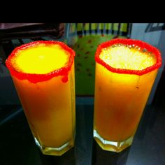 Homemade Baby Mango! Mango vodka nazdorovie + boing mango + mineral water + ice (& sugar + chamoy in the glass)