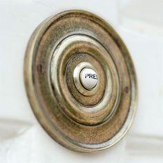 Door Bell Cover in Antiqued Brass with Ceramic Bell Push - Jim Lawrence External Door Handles, External Doors, Porch Doors, Front Doors, Entrance Doors, Doorbell Cover, Door Accessories, Door Furniture, Clever Design