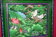 Handpainted Custom Framed Original Canvas Signed art Rainforest Birds Starling  Custom Frame By Dominique Rice  @Asmatcollection on Bonanza.com