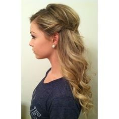 Bridesmaid hair | half up half down, add a few cute white flowers