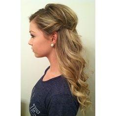 Bridesmaid hair | half up half down, add a few cute white flowers