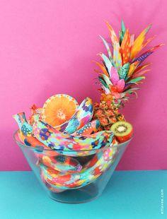Vibrant Colorful Tropical Fruits by Jessi Michelle / Ettavee. |CutPaste Studio| Art, Artist, Artwork, Entertainment, Beautiful, Creativity, Illustration, Painting, fruit art, Food art, tropical fruits