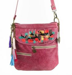 Pink Leather Handbag - Lapwing Leathers. Comfortable and trendy pink leather handbag with pockets and art on front. Free Shipping on U.S. Orders. No Risk Money Back. Buy Now!