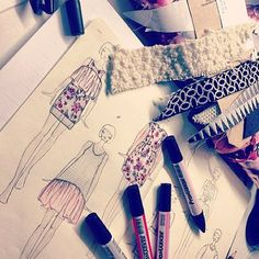 fashion sketchbook - fashion drawings and fabric samples