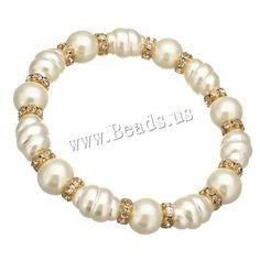 Cristal pulsera de perlas, Perlas de vidrio, con espaciador de latón de diamantes de imitación, chapado en color dorado, 13x9.5mm, 9x10mm, longitud:aproximado 7 Inch, 10Strandsfilamento/Grupo, Vendido por Grupo,Abalorios de joyería por mayor de China