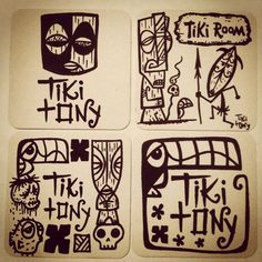 "Making the ""Tiki Room"" design into a stamp for drink coasters and the other 3 I'm trying to decide which to use for our stamp for our paper bags for Oasis shoppers. Tiki Art, Tiki Tiki, Tiki Hawaii, Tiki Tattoo, Tiki Totem, Acid Art, Tiki Lounge, Vintage Tiki, Wood Carving Designs"