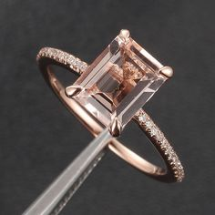 CLAW PRONGS 14K Rose Gold Emerald Cut Morganite Ring by ThisIsLOGR, $310.00